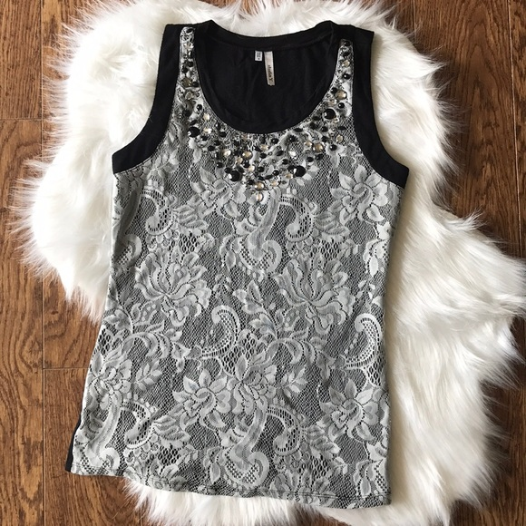 Studio Y Tops - Women's lace tank with embellishments